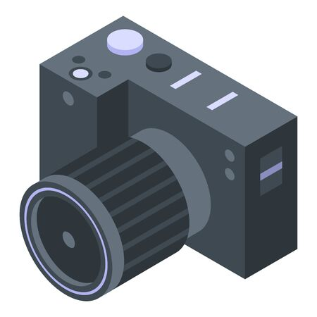 Professional camera icon. Isometric of professional camera vector icon for web design isolated on white background