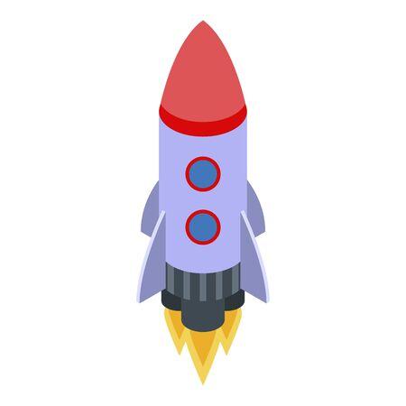 Startup product rocket icon, isometric style Ilustração