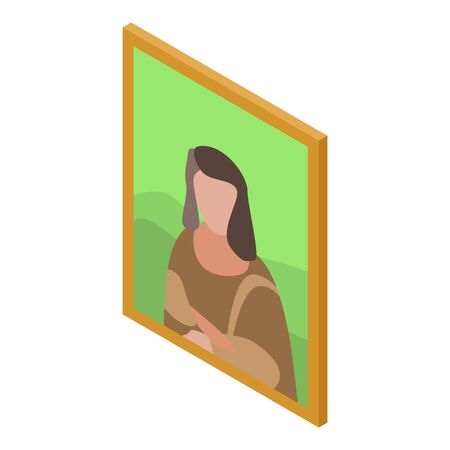 Excursion wall picture icon, isometric style