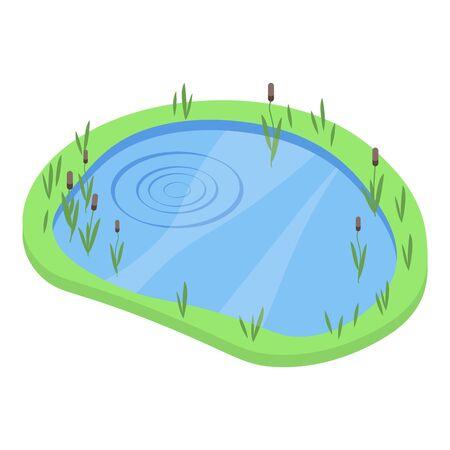 Lake icon, isometric style
