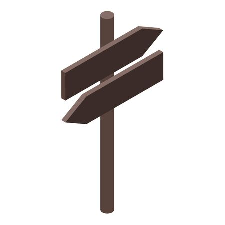 Wood sign board icon, isometric style 矢量图像