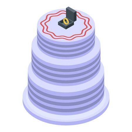Wedding bride cake icon, isometric style Vettoriali