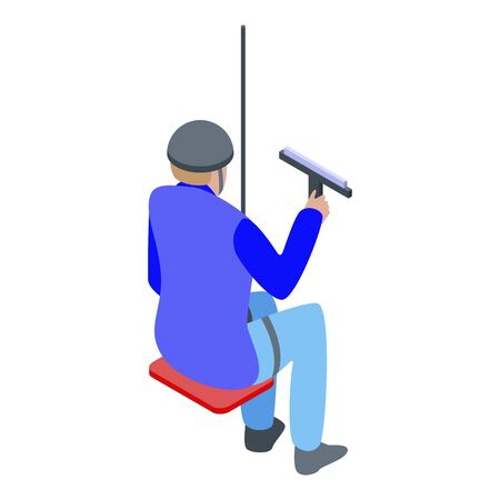 High window cleaning icon. Isometric of high window cleaning vector icon for web design isolated on white background Ilustración de vector