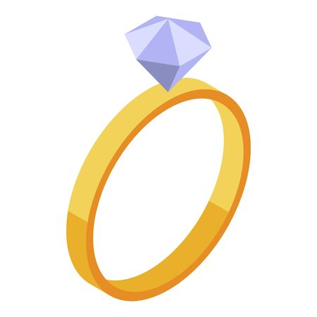 Bride diamond ring icon. Isometric of bride diamond ring vector icon for web design isolated on white background