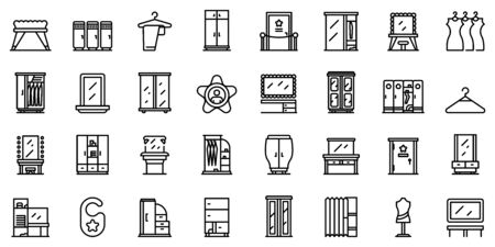 Dressing room icons set. Outline set of dressing room vector icons for web design isolated on white background
