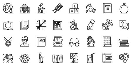 Inclusive education icons set. Outline set of inclusive education vector icons for web design isolated on white background Vetores