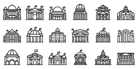 Parliament icons set. Outline set of parliament vector icons for web design isolated on white background