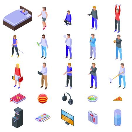 Habit icons set. Isometric set of habit vector icons for web design isolated on white background Фото со стока - 148093062