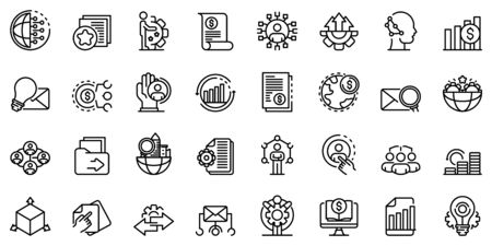 Restructuring icons set. Outline set of restructuring vector icons for web design isolated on white background Çizim