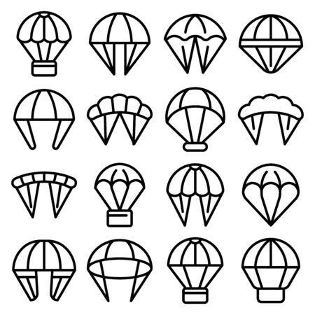 Parachuting icons set. Outline set of parachuting vector icons for web design isolated on white background
