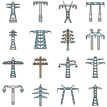 Electrical tower icon set, outline style Illustration
