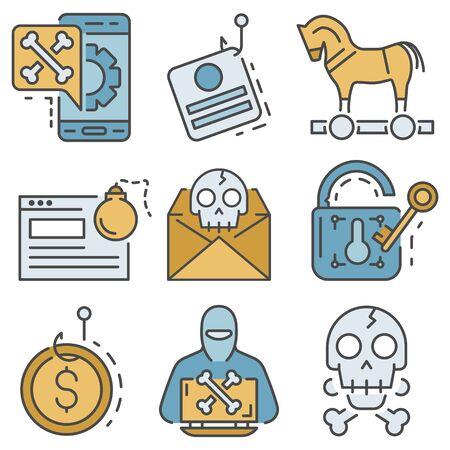 Phishing icon set, outline style Stock Illustratie