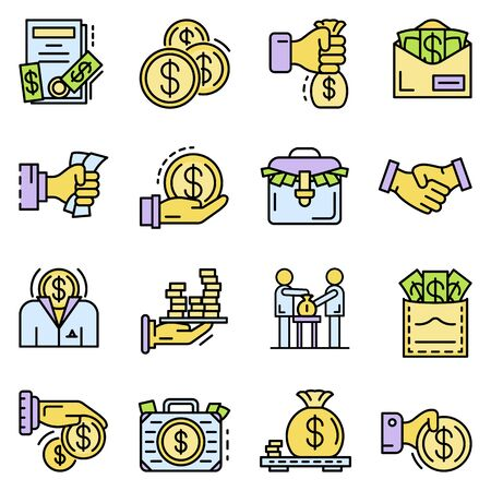 Bribery icon set. Outline set of bribery vector icons for web design isolated on white background