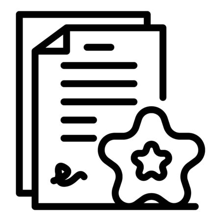 Star signing contract icon, outline style Ilustração