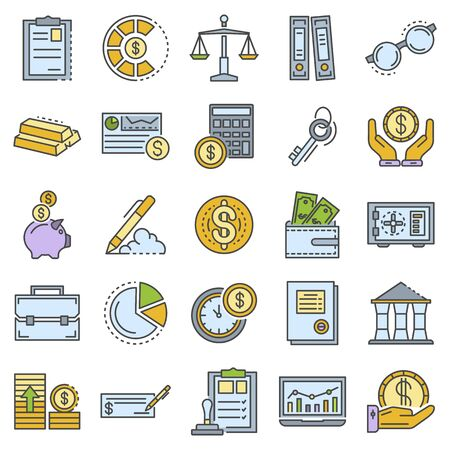 Accounting day icon set, outline style
