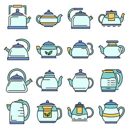 Teapot icon set, outline style