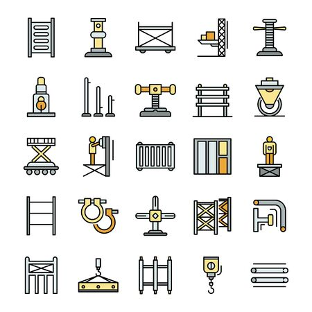 Scaffolding icon set, outline style Ilustração Vetorial