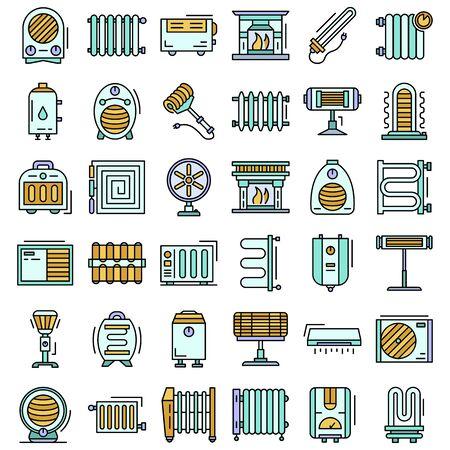 Electric heater icon set, outline style Ilustração