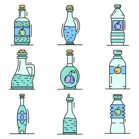 Vinegar icon set, outline style