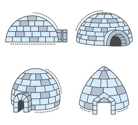 Igloo eskimo icon set, outline style