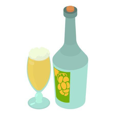 Sparkling wine icon, isometric style