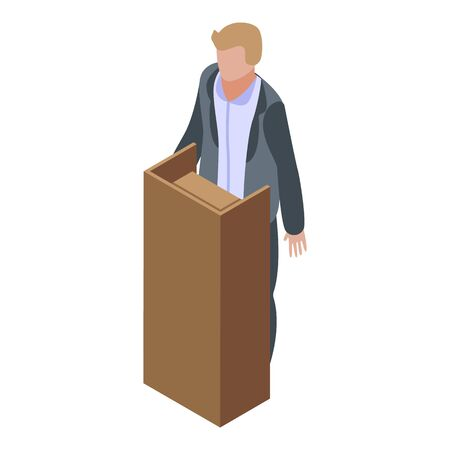 Witness man icon, isometric style Illustration