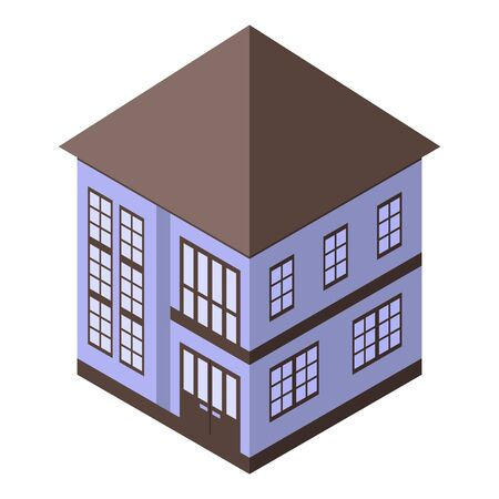 Private cottage icon, isometric style