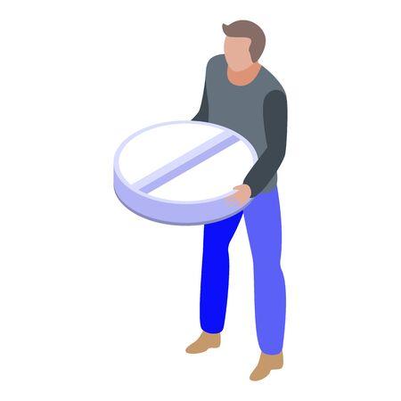 Pills addiction icon, isometric style
