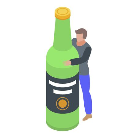 Alcohol addiction icon, isometric style Illusztráció
