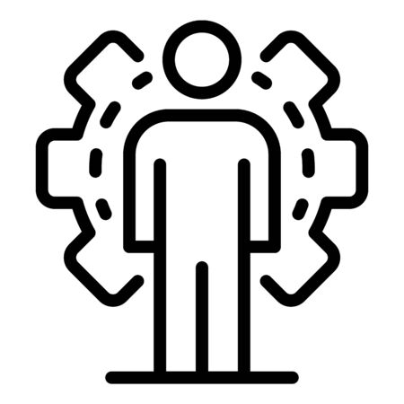 Gear office system icon, outline style Vectores