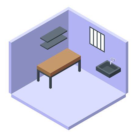 Prison room icon, isometric style