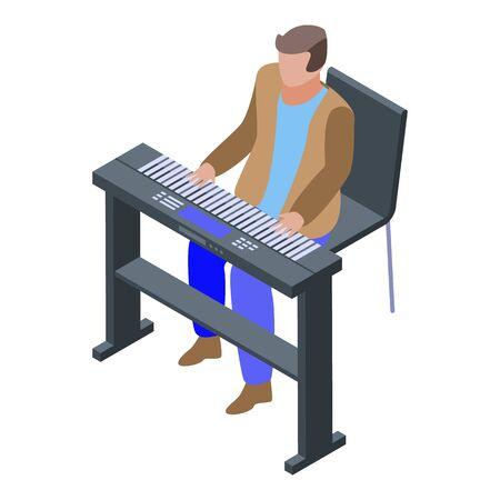 Pianist singer icon, isometric style Vecteurs
