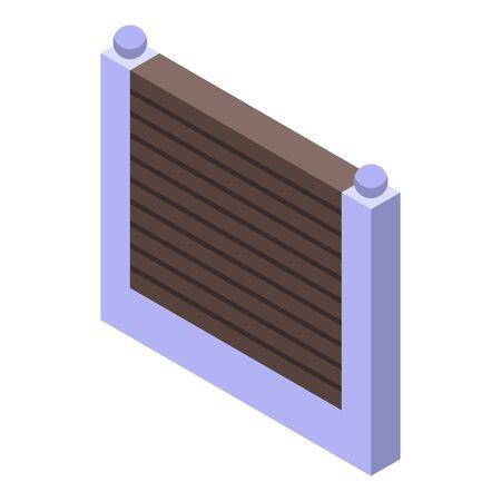 Fence gate icon, isometric style