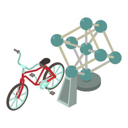 Atomi  icon. Isometric illustration of atom