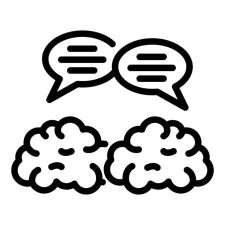 Brain translation communication icon, outline style