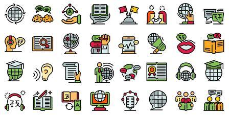 Translator icons set. Outline set of translator vector icons for web design isolated on white background Illustration