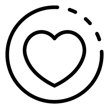 Heart casino coin icon, outline style