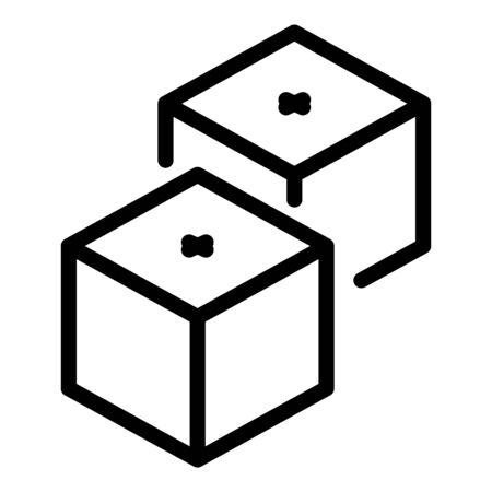 Casino plastic dices icon, outline style