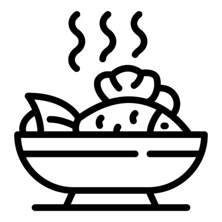 Hot fish dish icon. Outline hot fish dish vector icon for web design isolated on white background