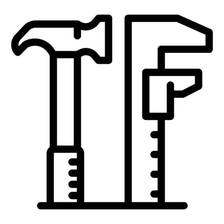 Hammer engineer icon, outline style