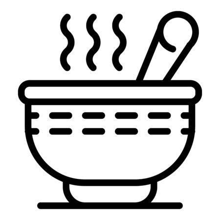 Hot cereal flakes icon, outline style Çizim