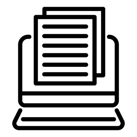 Tv reporter paper text icon, outline style Illustration
