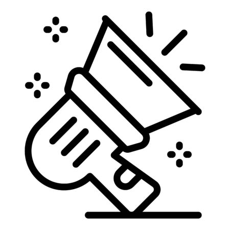 Tv megaphone icon, outline style