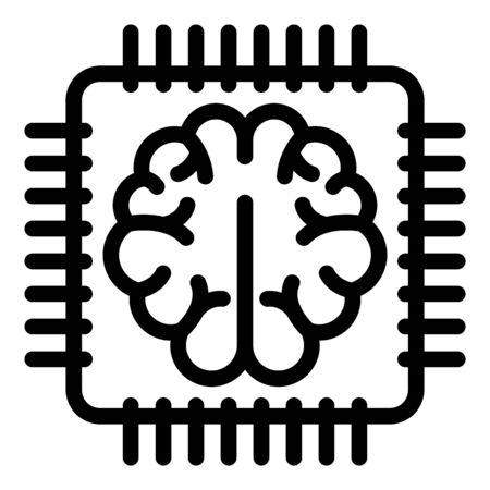 Brain communication processor icon, outline style