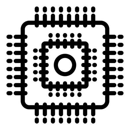 Icône de processeur ingénieur, style de contour
