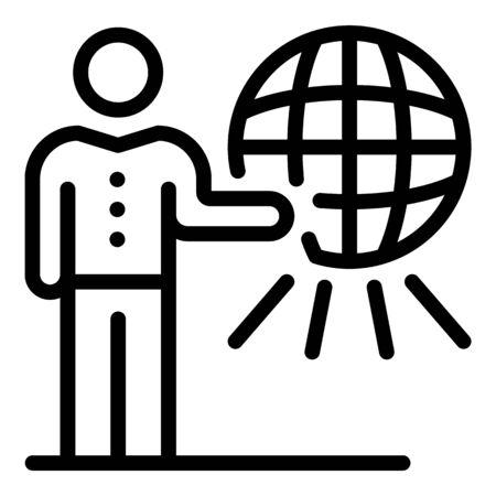 Global news tv presenter icon, outline style Illustration