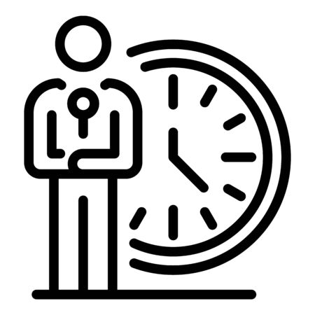 Local time tv presenter icon. Outline local time tv presenter vector icon for web design isolated on white background Illustration