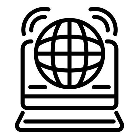 Web global news icon, outline style