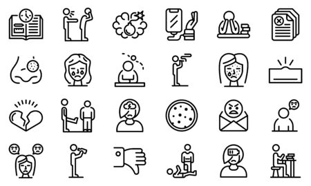 Teen problems icons set, outline style Vectores