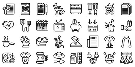 Retirement icons set, outline style